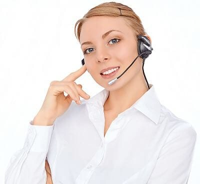 Support phone operator  in headset, blonde girl, isolatedblond girl, isolated